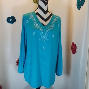 Womens turquoise cotton top